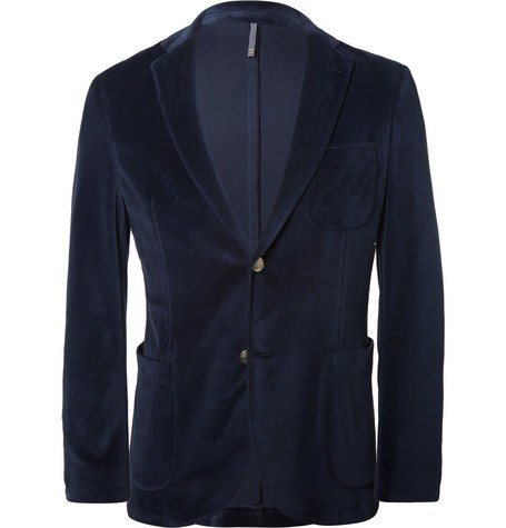 Blue Slim-Fit Velvet Blazer