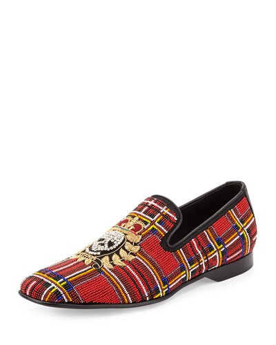 Donald J Pliner 				 			 		 		 	 	   				 				Pascow Men's Beaded Skull Loafer, Tartan