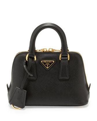 Mini Saffiano Promenade Bag, Black (Nero)