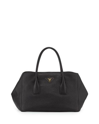Prada          Vitello Daino Garden Tote Bag, Black (Nero)