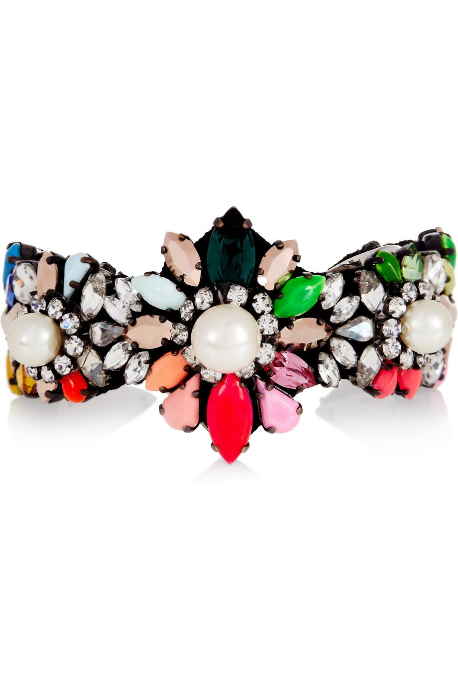 Rainbow Pearl silver-plated, Swarovski crystal and faux pearl cuff