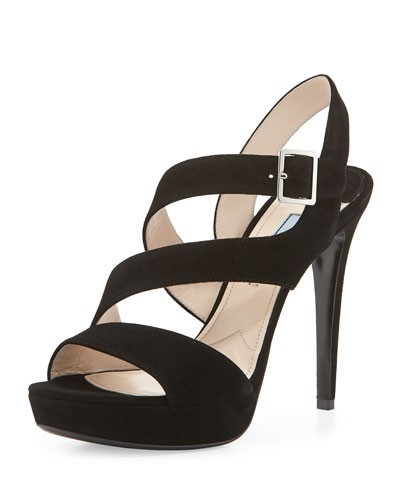 Prada          Suede Triple-Strap Platform Sandal