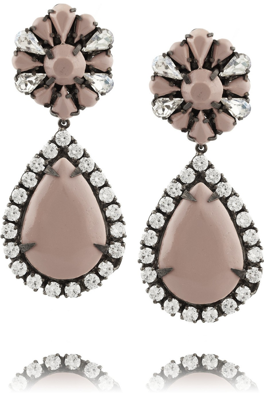 Roma gunmetal-tone crystal earrings
