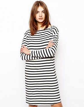 BZR Dress with Shoulder Zip Detail in Stripe