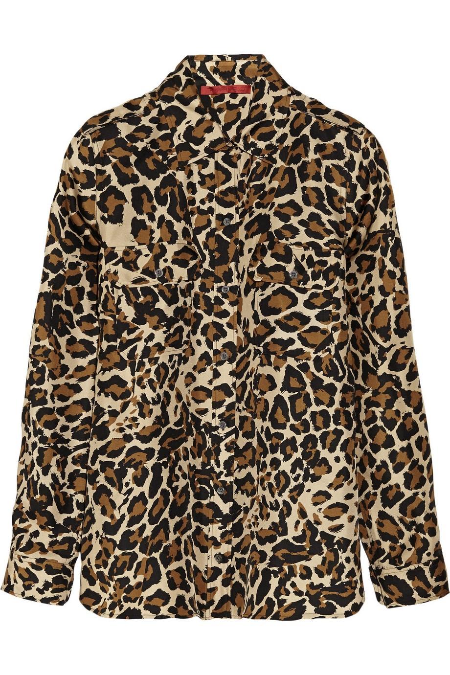 Leopard-print silk-twill blouse
