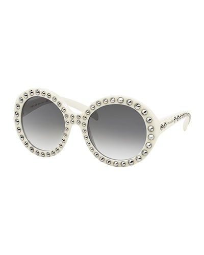 Round Studded Sunglasses, Ivory