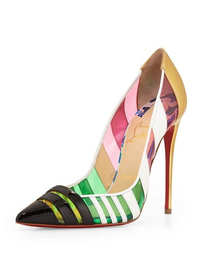 Christian Louboutin 				 			 		 		 	 	   				 				Front Double Multicolor PVC & Leather Red Sole