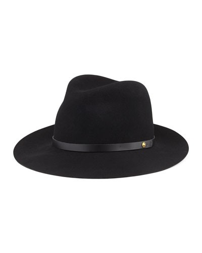 Rag & Bone 				 			 		 		 	 	   				 				Floppy Brim Wool Fedora Hat, Black