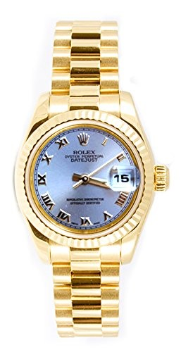 Rolex Ladys President New Style Heavy Band 18k Yellow Gold Model 179178 Fluted Bezel Silver Roman Di