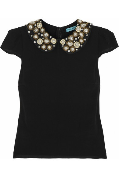 Mary embellished stretch-silk top