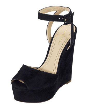 Jen & Oil Mary Jane Suede Platform Sandal, Black