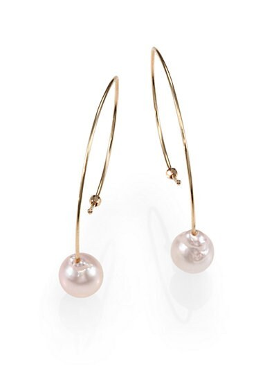 7MM White Akoya Pearl & 14K Gold Small Marquis Earrings