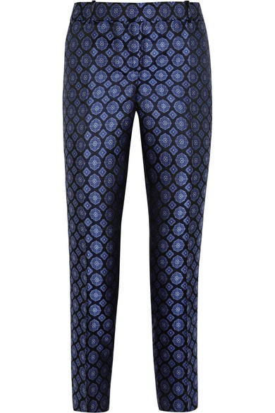 Collection Café silk-jacquard Capri pants