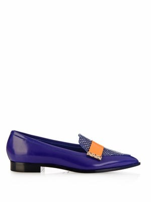 Elaphe snakeskin and leather loafers