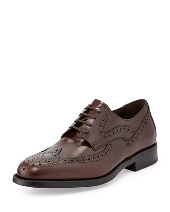 Ponce Wing-Tip Lace-Up, Auburn - Salvatore Ferragamo