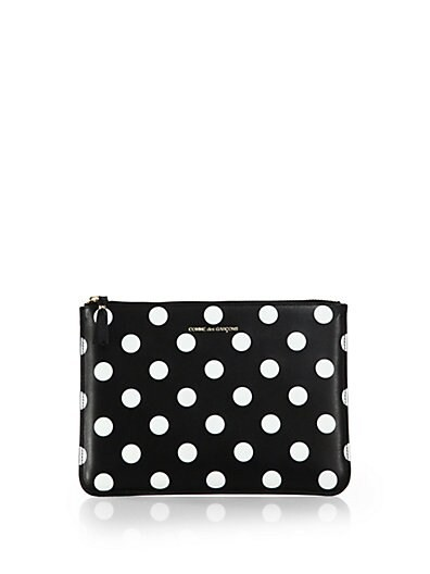 Polka-Dot Leather Zip Pouch