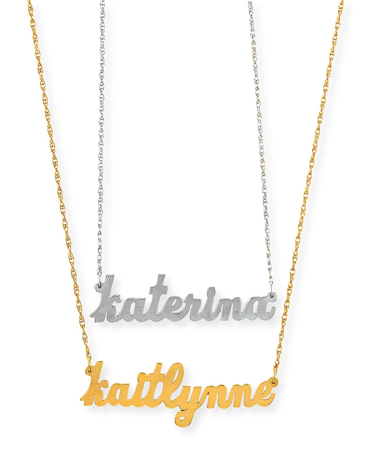 Serafina Personalized Mini Nameplate Necklace - Jennifer Zeuner - Gold
