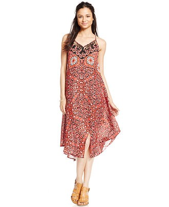 XOXO Juniors' Mix-Print Handkerchief-Hem Dress