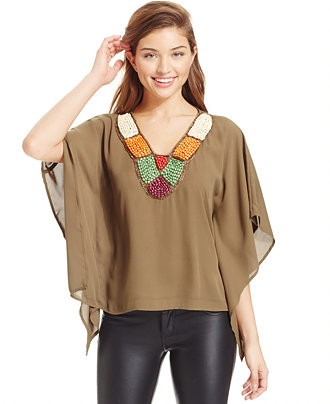 XOXO Juniors' Embellished Batwing-Sleeve Top