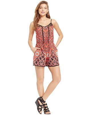 XOXO Juniors' Lace-Trim Printed Romper