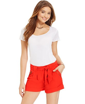 XOXO Juniors' Zipper-Embellished Cuffed Shorts