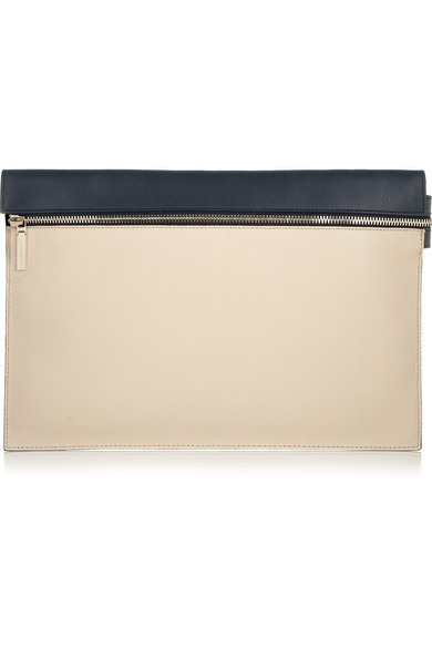 Two-tone leather clutch