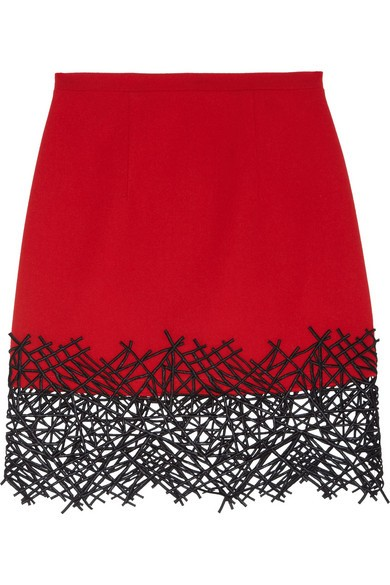 Lace-trimmed wool-crepe mini skirt