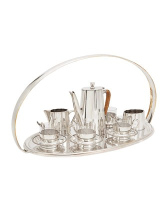 Complete English Silver-Plate Coffee Service on Tray