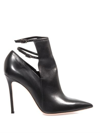 Leather ankle strap detail boots