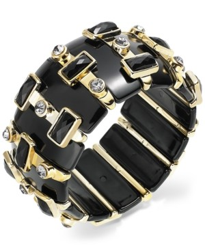 Bar III Gold-Tone Jet Crystal Stretch Bracelet
