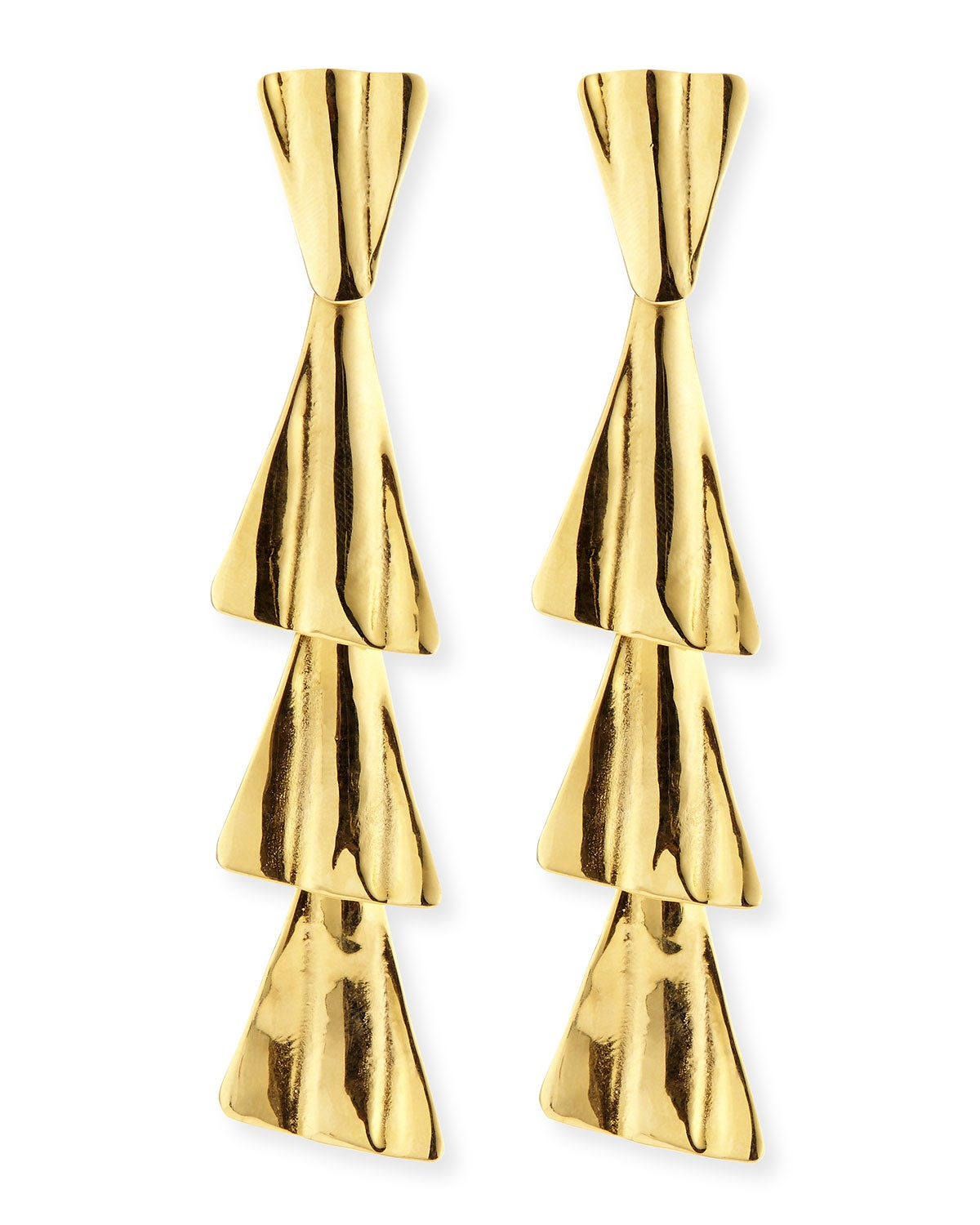 18k Gold-Plated Fan Drop Earrings with Post - Robert Lee Morris - Gold (18k )