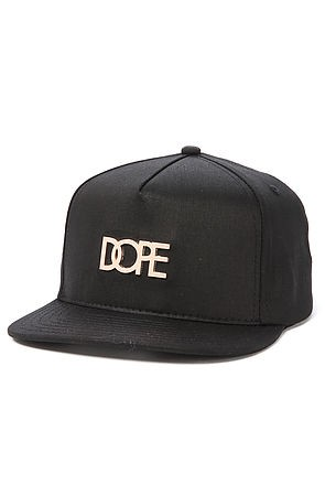 DOPE Men's The Small Gold Metal Plate Logo Snapback in Black, Hats