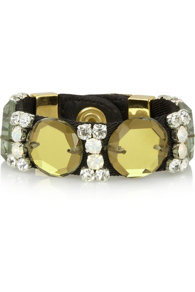 Twill, leather and crystal bracelet