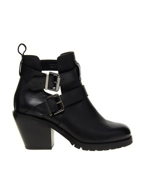 Faith Spitalfield Black Buckle Ankle Boots