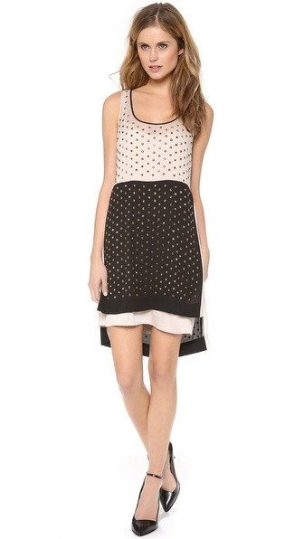 Abrielle Crystal Scoop Colorblock Dress