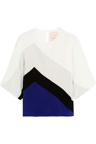 Color-block silk top