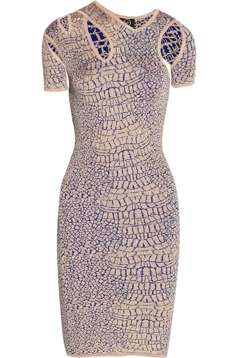 Stretch jacquard-knit dress