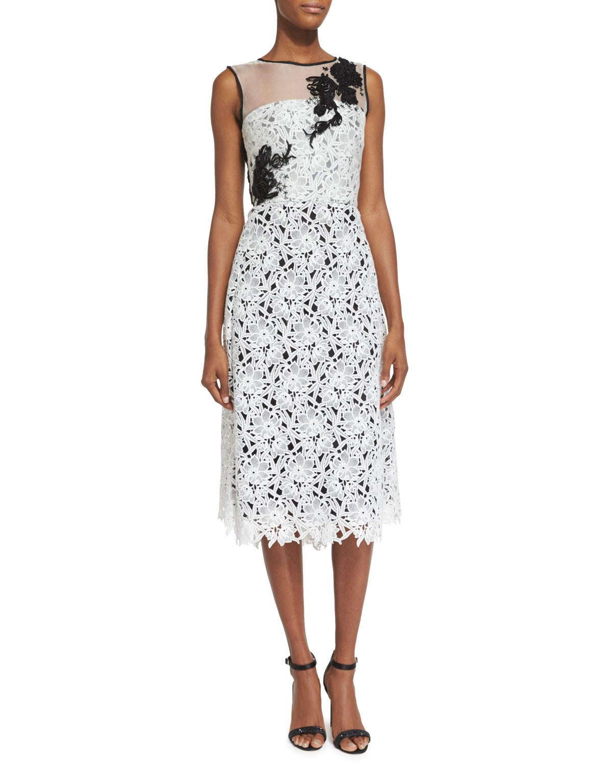 Sleeveless Lace Cocktail Dress, White/Black, Size: 6 - Oscar de la Renta