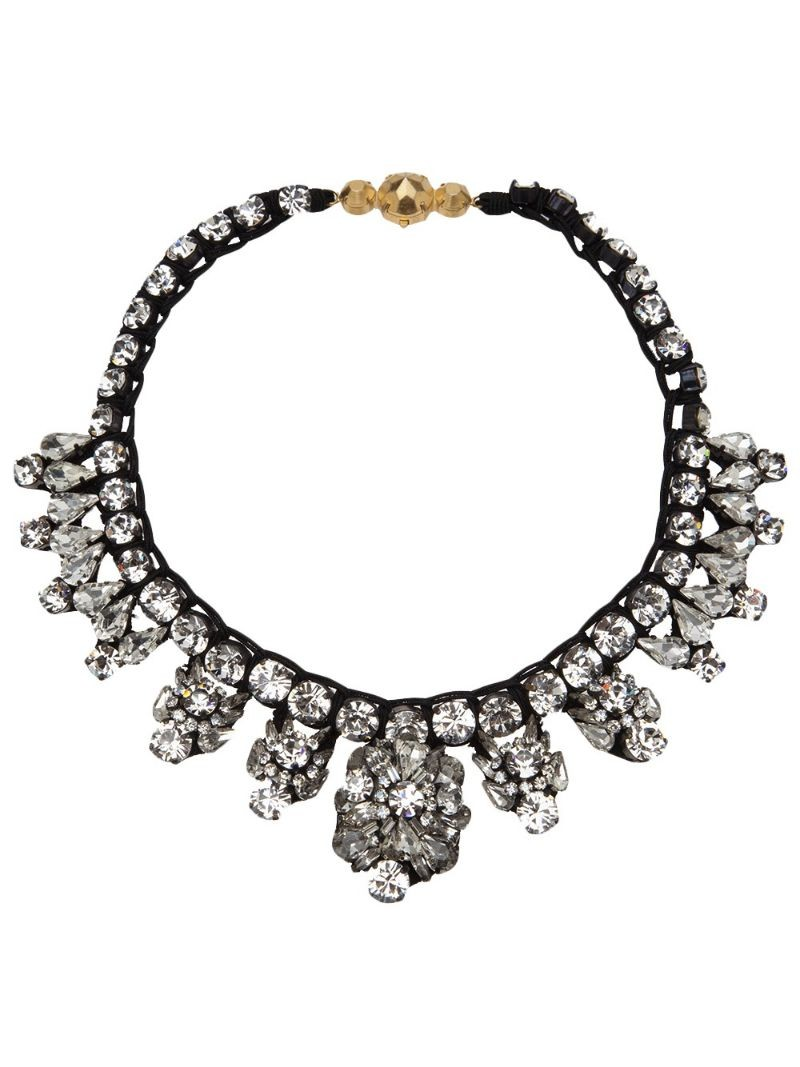 SHOUROUK crystal stud row necklace