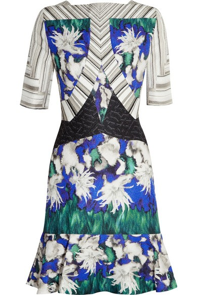 Elizabeth printed silk-blend cloqué dress