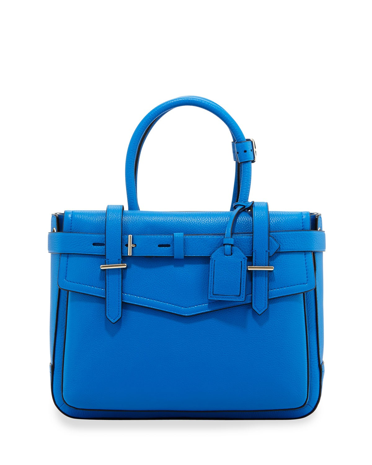 Boxer Pebbled Leather Tote Bag, Blue - Reed Krakoff
