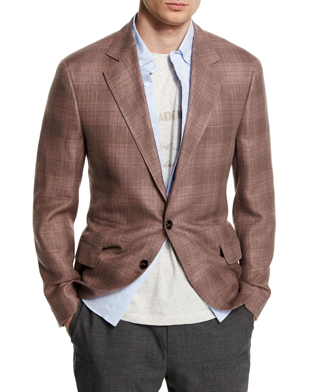 Brunello Cucinelli Plaid Linen-Blend Two-Button Blazer, Grape (Purple), Men's, Size: 52