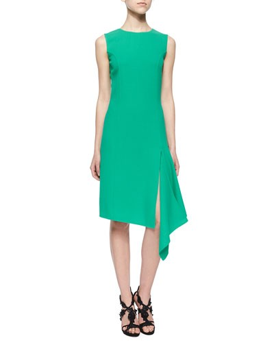 Asymmetrical Scarf-Hem Dress, Jade