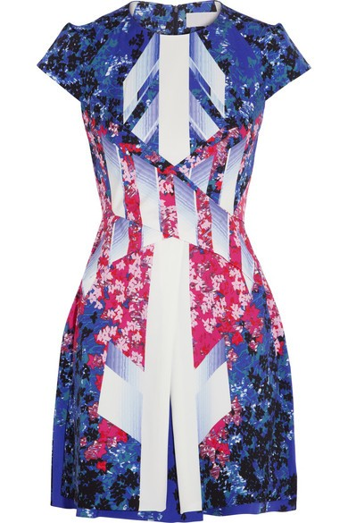 Mira printed stretch-silk dress
