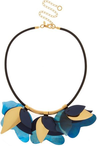 Gold-tone, leather and horn necklace