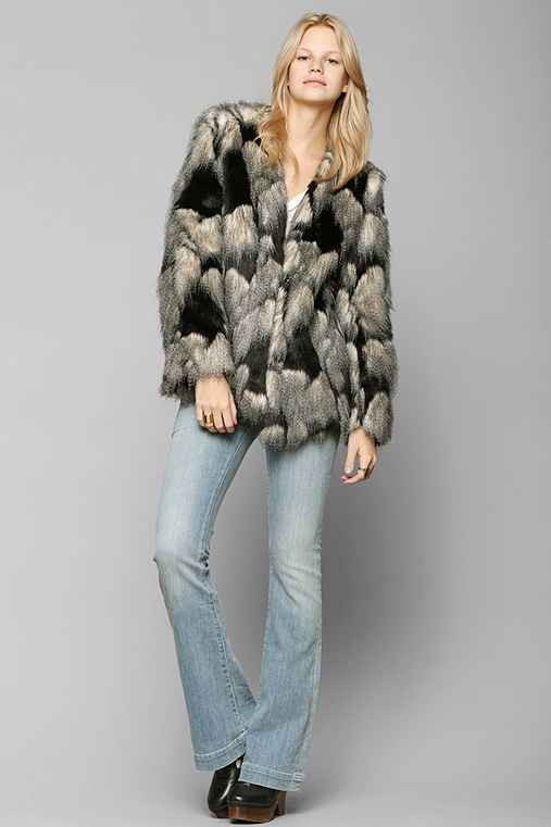 Ladakh Pieced Faux Fur Jacket
