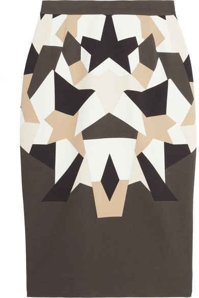 Patchwork print stretch cady Tubino skirt