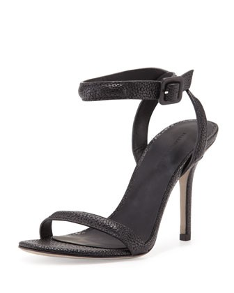 Antonia Stingray-Embossed Sandal, Black