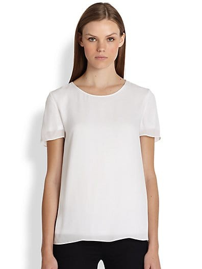 Jersey-Lined Short Sleeve Silk Top