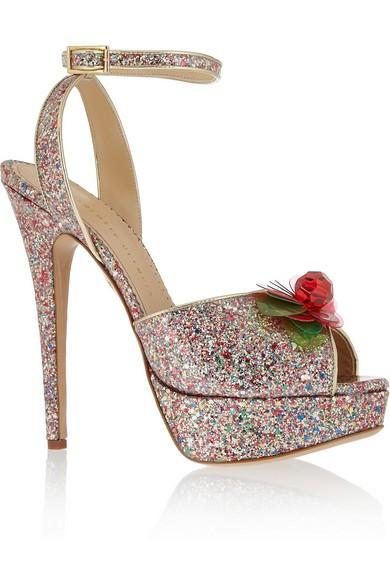 Sabrina glittered PVC platform sandals